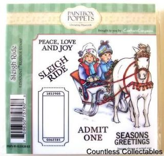 Ride Paintbox Poppets Christmas Card C. Haworth Cling Rubber Stamp