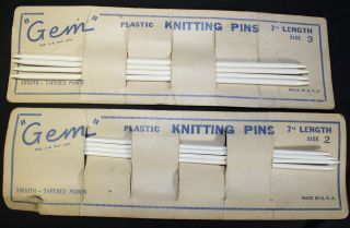 Antique Gem Double Pointed Knitting Needles Pins size 2 & 3