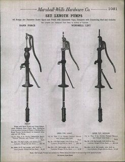 1912 AD Water Well Windmill Hand Pumps Lift Force Set Length Heavy