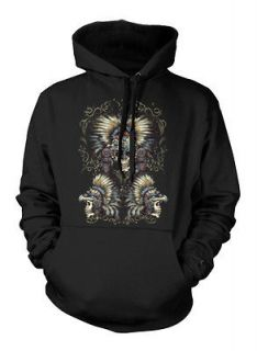 Haunted Tribal Native American Skulls With Headdresses Indian Hoodie