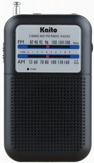 Kaito KA200 AM FM Portable Pocket Radio Receiver Black