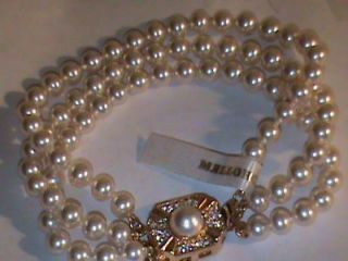 Sterling Silver Vermeil 3 Strand Majorca Pearl Bracelet with AAA+