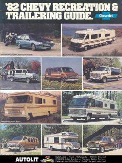 1982 Chevrolet Motorhome RV Van Camper Brochure