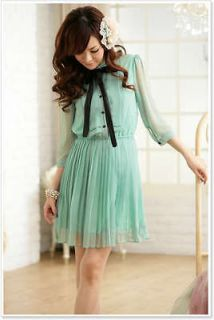 A8315 Japan Korea Fashion Women Ladies Green Bow Pleated Elbow Sleeve