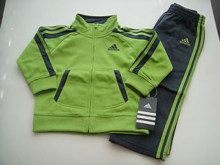 ADIDAS NWT Boy Jacket Pant Top Track Suit Green Gray Tricot 12 18 24