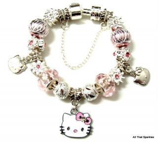 Pink Hello Kitty Childrens Child Girl Charm Bead European Bracelet