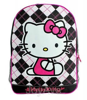Sanrio Hello Kitty Checkered 16 Large Backpack Book School Bag