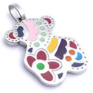 Stainless Steel Blending Colorful Bear Ladies Art Pendant Necklace