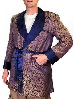 Vintage Mens Smoking Jacket Sapphire Blue/Gold Phoenix Damask 1950S