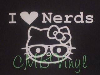 Hello Kitty I Heart Nerds Vinyl Decal/Sticker Car Truck Laptop Window