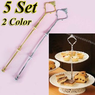 Set 3 Tier Cake Plate Stand Handle Fitting Silver Gold Wedding Party