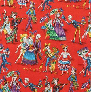 Dead Paseo De Los Muertos Red Fat Quarter Alexander Henry Folklorico