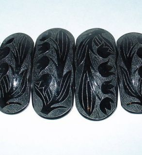 antique Victorian Whitby jet lily of valley flower carved choker
