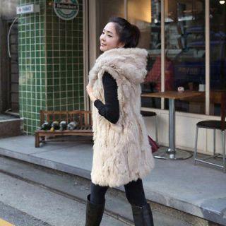 Luxury Womens Hoodie Fashion Faux Fur Hooded Vest Long Jacket Cardigan
