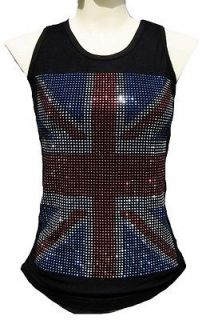 Rockabilly Punk Rock Baby UK UNION JACK Diamante ViP WoW TANK TOP