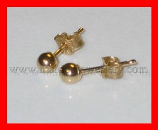 3mm 9ct yellow gold ball stud earrings tiny small .375 x 1 pair studs