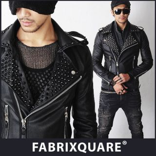 FX Homme Blade Spiked Studs Leather Biker Jacket XS S M Blk or Silver