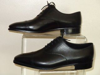 John Lobb Philip II Black Calf Leather Cap Toe Oxford Shoe Shoes