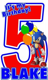 SUPER MARIO BROS SONIC BIRTHDAY T SHIRT DESIGN DECAL NEW PERSONALIZED