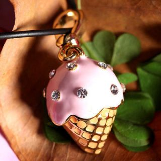 ICE CREAM SHAPE FOOD 18K GOLD PLATED GP PINK CUTE METAL CLIP ON