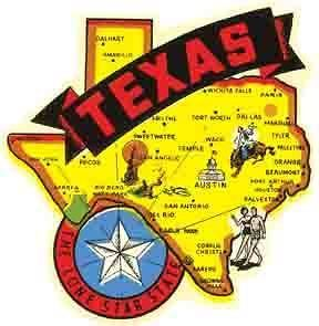Texas State Map Banner TX Vintage 1950s Style Travel Decal