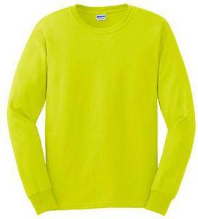 Gildan High Visibility Safety Green Plain Long Sleeve T Shirt Mens
