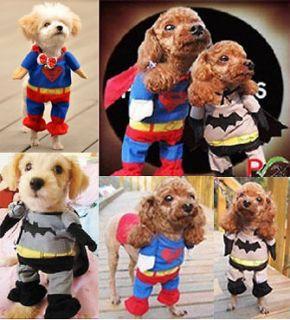 Clothes Superman Batman T shirt Pet Doggy Apparel Outfit Top Blue Grey