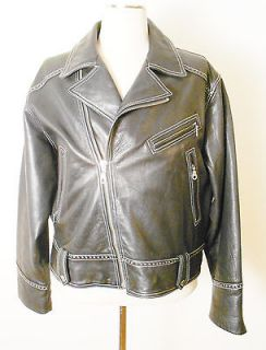 MICHAEL HOBAN NORTH BEACH black leather biker jacket with detail size