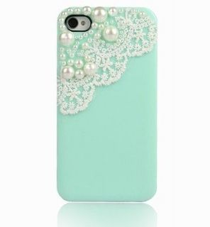 Green Pearl Cute Lace Deco Ice Cream Case Cover for iPhone 4 4G 4S
