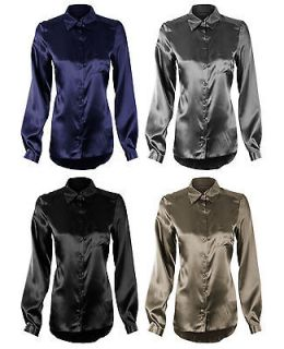 SLEEVE SEMI FITTED DIP/DROP BACK WET LOOK/SATIN BLOUSES/SHIRTS​/TOPS