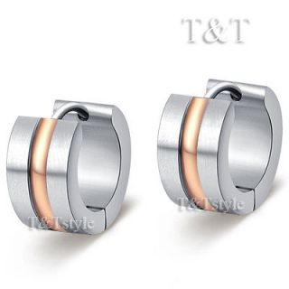 TRENDY T&T Stainless Steel Thick Hoop Earrings Rose Gold (EX02)