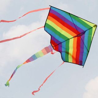 Beautiful Delta Kite With Colorful Strip Children Fly Toy / Gift Park
