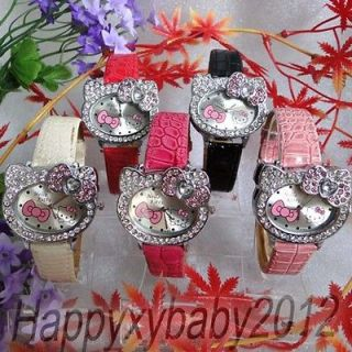 Newly listed Wholesale 5pcs Hello Kitty Girl Bow Crystal Wrist watch