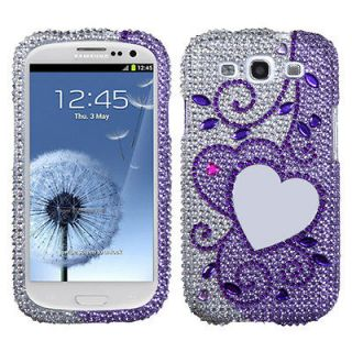 SAMSUNG Galaxy S 3/III/GS3 Case Cover Bling Rhinestones Purple Heart