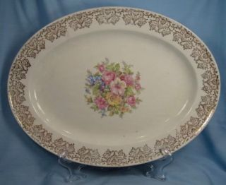vintage colorful floral bouquet platter edwin knowles o time left