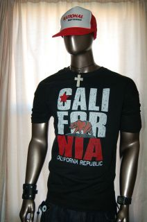 NEW CALIFORNIA REPUBLIC T SHIRT men black bear cali state logo flag ca