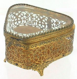 REPOUSSE FRENCH STYLE VANITY DRESSER JEWELRY BOX BEVELED GLASS