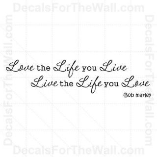 You Live Bob Marley Inspirational Wall Decal Vinyl Art Sticker I90