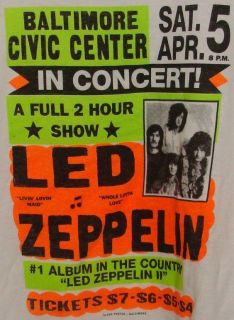 Led Zeppelin Globe Poster T Shirt Baltimore Civic Center Sat. Apr. 5