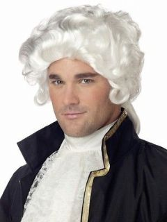 70172 NEW COLONIAL MAN WHITE FUNNY CURLY HALLOWEEN COSTUME WIG ONE