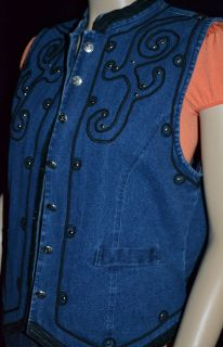 Womens Blue Jean Denim Black EMBROIDERED Silver Stud Vest Top M