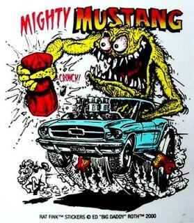 Rat Fink MIGHTY MUSTANG Decal Racing Car Sticker Hot Rat Rod