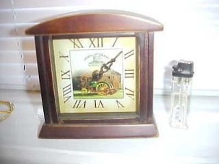 JOHN DEERE Wood Frame TABLE MANTLE CLOCK Roman Numerals WORKING