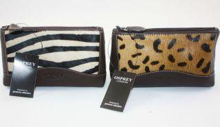 NEW OSPREY LONDON Pony Skin Leather Animal Print Make Up Bag Purse (£
