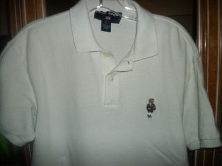 VTG RALPH LAUREN POLO SPORT TEDDY BEAR SHIRT L 44 WHITE RARE POLO