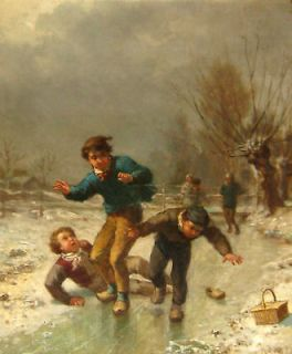 James Crawford Thom Winter Snow Scene Oil Painting