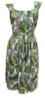 Green Peacock Print Sleeveless Stretch Party Dress Emilia Size 8 New