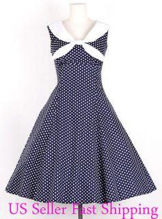 50s Vintage Size M WhiteDot/Navy Blue Sailor Dress Polka Dot