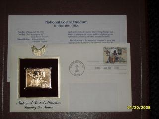 22K USPS Gold Stamp National Postal Museum   Binding the Nation