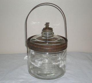 Antique Perfection Kerosene Oil Stove Glass Dripper Jar Bottle Early